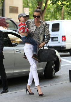 Miranda Kerr Gives Her Son a Lift