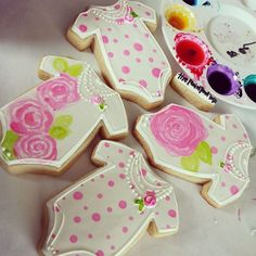 The Painted Box - hand-painted onesie cookies for a baby shower