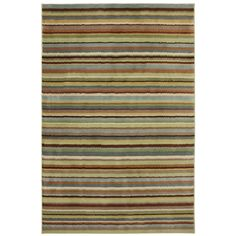 This striped geometric rug is sure to add a contemporary flair to any space. It has brown, blue, tan, and beige tones that are easy to match, and its eye-catching design is sure to draw attention. The stain-resistant rug features a high, soft pile.