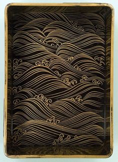 Writing Box with Eight Bridges (lacquered wood) by OGATA Korin, century, National Treasure of Japan. Japanese lacquerware is STUNNINGLY beautiful! Pattern Texture, Wave Pattern, Japanese Patterns, Japanese Design, Japanese Style, Sgraffito, Motifs Textiles, Japon Illustration, Japanese Waves