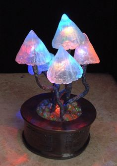 Magnificent Mushroom Lamp - Rainbow colour change leds - Mushrooms with bendy stems growing from shattered marbles. Mushroom Lights, Mushroom Art, My New Room, My Room, 242, Home And Deco, Rainbow Colors, Room Inspiration, Color Change
