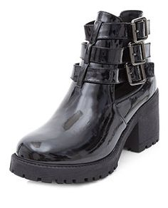 81923f12f3 Black Patent Multi Buckle Strap Cut Out Block Heel Boots | New Look New  Look Fashion