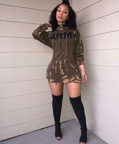 Sum All Chic, Shop Army Green Monogram Print Tie Dye Hooded Long Sleeve Bodycon Club Mini Dress online. Dope Outfits, Swag Outfits, Sweater Outfits, Fall Outfits, Summer Outfits, Casual Outfits, Club Outfits, Black Women Fashion, Girl Fashion