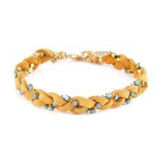 Ettika :: Bracelets :: Braided :: Blonde Leather Braided Bracelet with Turquoise Stones