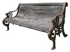 Antique Cast Iron Garden Bench with Wood Seat
