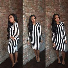 Angela Simmons. Black and White.  Hairstylist: @qlovebug  Mua: @reneemadeulook  Dress : @alexanderwangny : @rafaelloandco