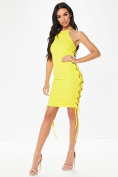 Kimmy Yellow Lace Up Bodycon Dress from @misspap
