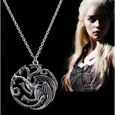 Fierce Khaleesi Dragon Necklace! Custom Game of Thrones jewelry available at our site. Tag a friend that would like this and remember to like and repin if you like what you see! Click here to order--> http://www.teebrewery.com/collections/game-of-thrones/products/fierce-khaleesi-dragon-necklace