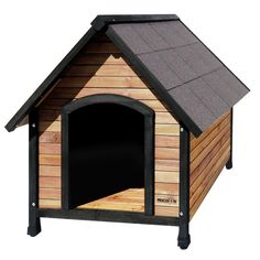 The perfect home away from home for your four-legged friend, this rustic dog house showcases an asphalt shingle roof and natural wood design. Product: Dog houseConstruction Material: Wood and asphaltColor: NaturalFeatures: Asphalt shingle roofRaised f Rustic Dog Houses, Wooden Dog House, Plastic Dog House, Wood Dog, The Perfect Dog, Outdoor Dog, Indoor Outdoor, Outdoor Life, Cool Pets