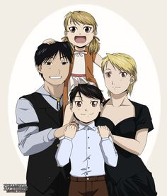 Mustang Family - 1929 by *NoVaNoah on deviantART -I have hard time seeing them with a daughter for some reason but this is adorable Full Metal Alchemist, Roy Mustang, 鋼の錬金術師 Fullmetal Alchemist, Familia Anime, Alphonse Elric, Edward Elric, Fanart, Ghost In The Shell, Blue Exorcist