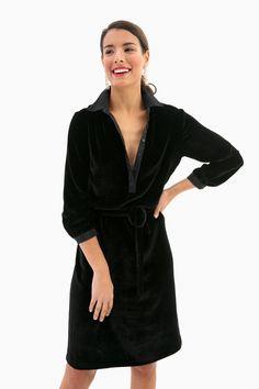 Black Velvet Shirt Dress in Black by Emerson Fry - Tnuck