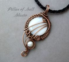 Wire wrapped pendant / White mother of pearl and copper Wire Wrapped jewelry by PillarOfSaltStudio