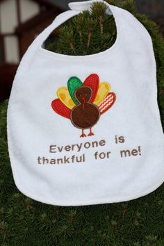 Baby's First Thanksgiving Turkey Bib by ExcellentEmbroidery, $10.00