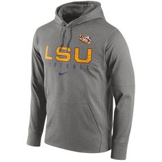 Men's Nike LSU Tigers Circuit Performance Hoodie ($70) ❤ liked on Polyvore featuring men's fashion, men's clothing, men's hoodies, grey, mens sweatshirts and hoodies, nike mens hoodies, mens gray hoodie, mens grey hoodies and mens hoodies