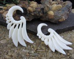 FREE US Shipping  4G - 5 mm Carved   bone Seraphim Wing Gauged Earrings, Organic gauge, Body Piercing jewelry L298. $16.50, via Etsy.