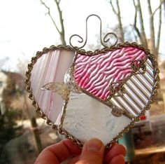 Valentine Heart Stained Glass Heart Small Patchwork by GlassCat