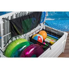 Keter 120 Gal Pool Storage Deck - The Home Depot Pool Storage Box, Pool Float Storage, Storage Boxes, Outdoor Storage, Deck Box, Home Depot, Pool Deck Decorations, Pool Organization, Organizing