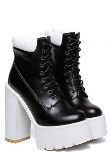 Platform Round Toe Lace-Up Boots / Upper Material: PU