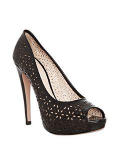 Prada black floral eyelet leather peep toe pumps