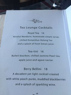Mandarin Oriental Tea Lounge - Las Vegas, NV, United States. Cocktails menu, and they also have a full bar.