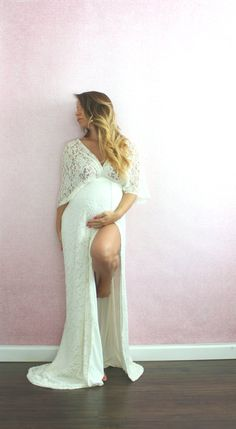 Bohemian Wedding Gown Lace Kimono Maternity Dress by EmbieBaby