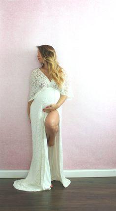 Bohemian Wedding Gown Lace Kimono Maternity Dress by EmbieBaby – Daily Best Shares Bohemian Maternity Dress, Maternity Gowns, Boho Wedding Dress, Maternity Fashion, Wedding Gowns, Bohemian Gown, Wedding Reception, Wedding Venues, Pregnancy Dress