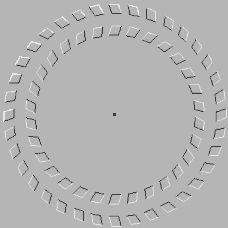 Fixez bien le point au centre de l'image tout en vous approchant ou en vous éloignant de votre écran. Un effet surprenant se produira...