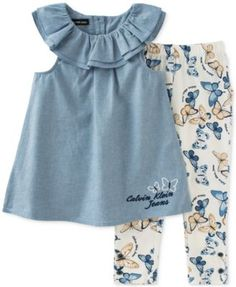 Calvin Klein Baby Girls' 2-Piece Tunic & Butterfly-Print Leggings Set - Sets - Kids & Baby - Macy's