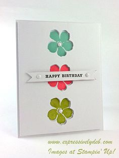 handmade card ... clean and simple ... negative die cuts ... like how the flowers are stamped inside the card and the matching framelit is cut out right above ... pretty color combo ... Stampin' Up!