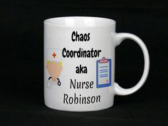 The perfect gift for a nurse! Great gift for her or gift for him, We can totally personalise these including the colours of the nurses (skin tones, hair, accessories), simply tell us your preference when you order Gifts For Him, Great Gifts, Nurse Mugs, Chaos Coordinator, China Mugs, Nurses, Hair Accessories, Colours, Registered Nurses