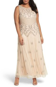 Main Image - Pisarro Nights Beaded A-Line Gown (Plus Size)