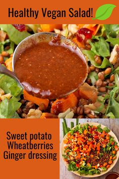 Discover enticing textures and flavors in each bite of roasted sweet potato salad with wheat berries, oil-free soy ginger dressing, veggies, cranberries, and walnuts. Loaded Sweet Potato, Salad With Sweet Potato, Potato Salad, Soy Ginger Dressing, Plant Based Breakfast, Healthy Protein, Roasted Sweet Potatoes, Low Calorie Recipes, Vegan Foods