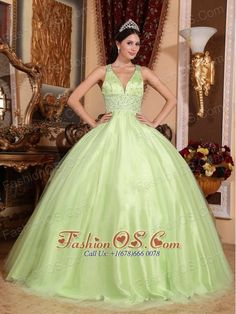 a6d43220e07 Simple Yellow Green Quinceanera Dress V-neck Tulle and Taffeta Beading Ball  Gown http