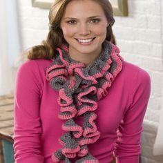 Rosy Ruffle Scarf, #crochet, free pattern, #haken, gratis patroon (Engels), sjaal, wokkel sjaal, haakpatroon