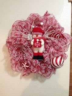 Christmas Snowman peppermint wreath