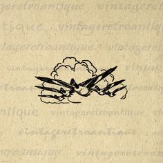 Digital Graphic Flying Geese Download Bird by VintageRetroAntique