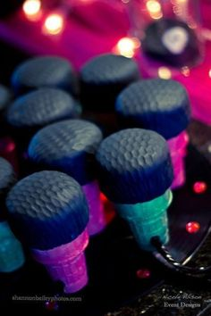 Microphone cupcakes for a rockstar party! by B. Lovely Events