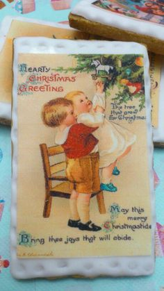 galleta de navidad con lmina vintage