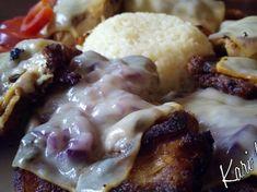 """Lilahagymás, gombás tarja, füstölt sajt """"szigeteléssel"""" Chicken, Dinner, Food, Food Dinners, Meals, Yemek, Cubs, Eten"""