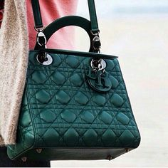 Lady Dior bag in dark green  Perfect color for winter