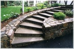 driveway retaining wall | Driveway blacktop apron retaining stone wall belgian blocks contractor ...