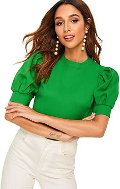 Romwe Women's Petite Elegant Puff Sleeve Keyhole Back Short Sleeve Office wear Blouse Top Shirt Green XS Stylish Blouse Design, Look Chic, Blouse Designs, Blouses For Women, Ideias Fashion, Fashion Outfits, Sleeves, How To Wear, Office Wear