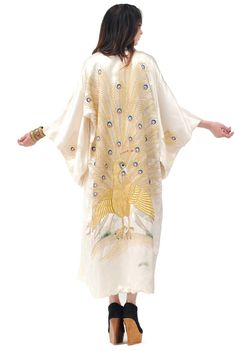 Luxe Silk Gold Metallic Peacock Kimono