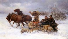 "-Kowalski ""Wilki napadające na sanie"" . Dashing Through The Snow, Wildlife Paintings, Horses And Dogs, Draft Horses, Outdoor Art, Watercolor Art, Moose Art, Fine Art, Illustration"