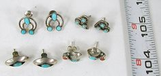 4 Pairs Sterling Silver and Turquoise Post Earrings