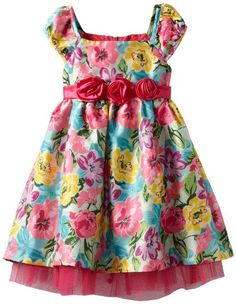 Amazon.com: Nannette Girls 2-6X Colorful Floral Print Dress With Tulle: Clothing