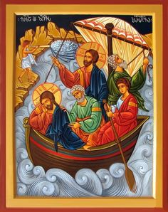 """Jesus calming the storm [He replied, """"You of little faith, why are you so afraid?"""" Then he got up and rebuked the winds and the waves, and it was completely calm. Religious Images, Religious Icons, Religious Art, Jesus Calms The Storm, Church Icon, Calming The Storm, Biblical Art, Byzantine Icons, Catholic Art"""