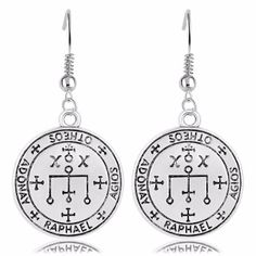 """Product Details These earrings are made from pewter and measures 2cm in diameter.  They come on fishhook earrings rings.  Product Description The sigil of the Archangel Raphael is used to invoke his knowledge, wisdom, healing, and protective powers.  Raphael is a Spirit of science who bestowed upon King Solomon his knowledge and wisdom of science and the earth.  Raphael's name means """"God heals"""" and he is the angel of protection and healing.  It was with his knowledge that Raphael healed the…"""