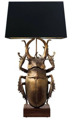 Flair exclusive large staghorn beetle sculpture table lamp cast in solid bronze on a walnut base, designed and hand cast by artist George Sellers. Light Table, Lamp Light, Goth Home, Gothic House, Home Collections, Ideal Home, Bruges, Kitsch, Cool Furniture