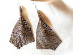 Leather Dangle Earrings  Metallic Silver by BumbleberryJewelry, $20.00 #leatherearrings